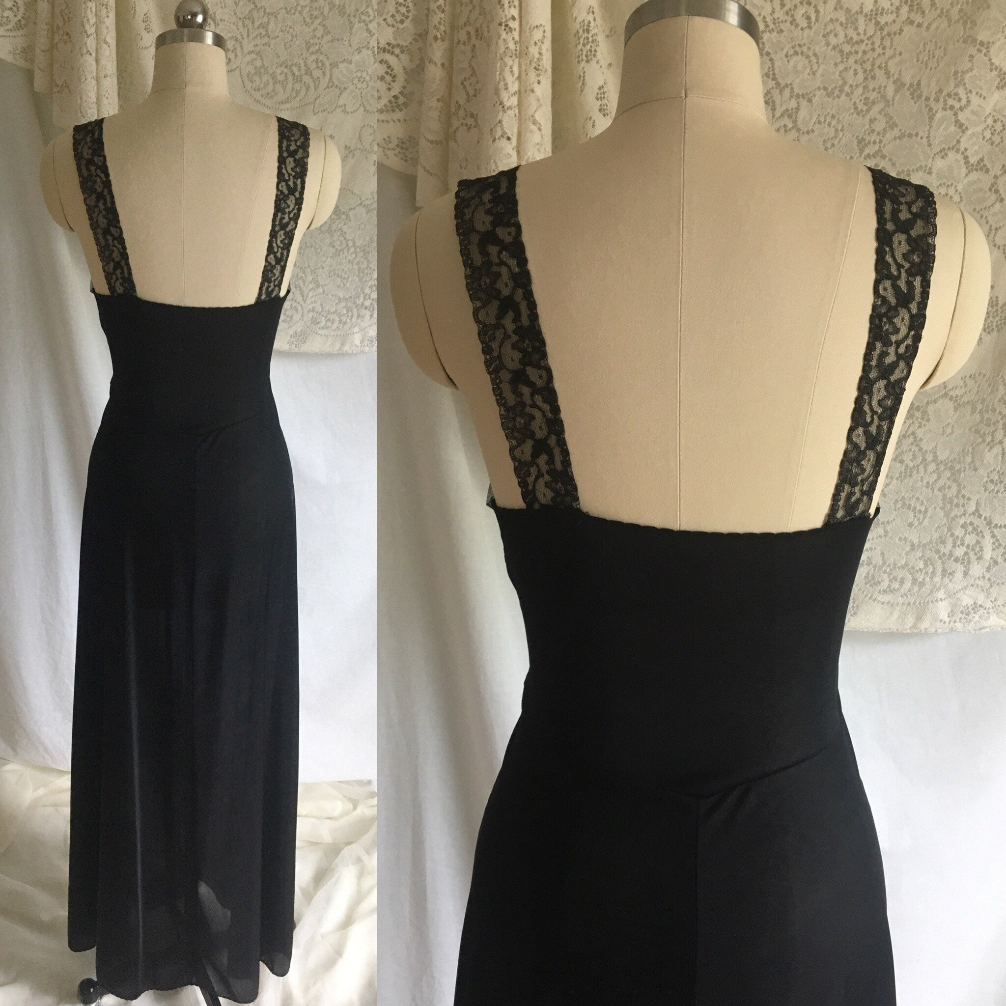 Vintage 1950's Nightgown | Black Nylon with Sheer Embroidered Tulle Bodice | Bias Cut Lingerie | Maxi Dress | Size S - Daggers & Dames