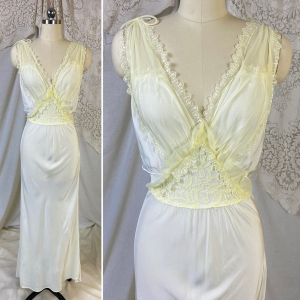 Vintage 1950's Nightgown | Pale Pastel Yellow Rayon with Nylon Chiffon | Size M | Charmode - Daggers & Dames