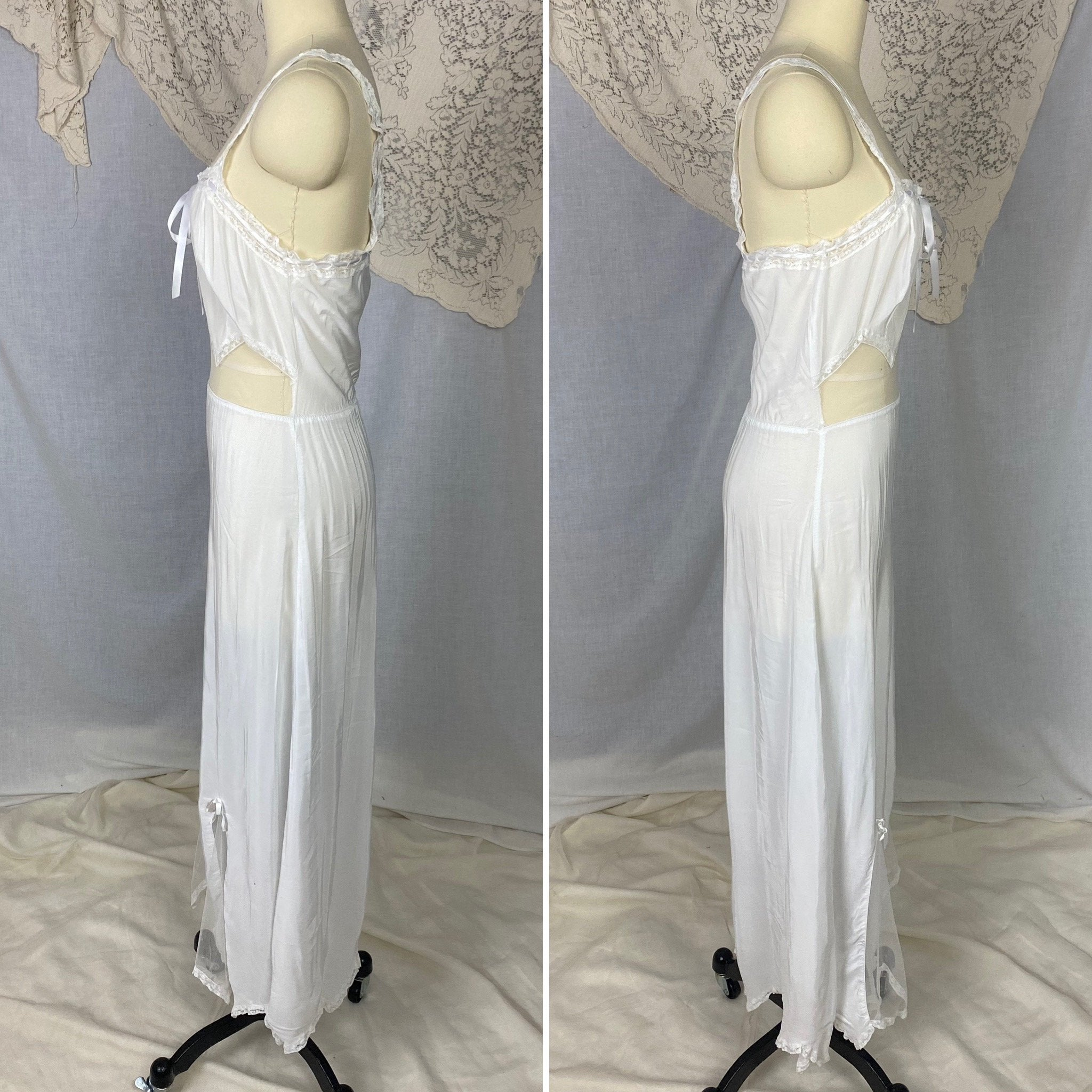 Vintage 1950's Nightgown | Semi Sheer White Rayon Crepe with Nylon Mesh Inserts & Scalloped Hem | Size XS, S - Daggers & Dames