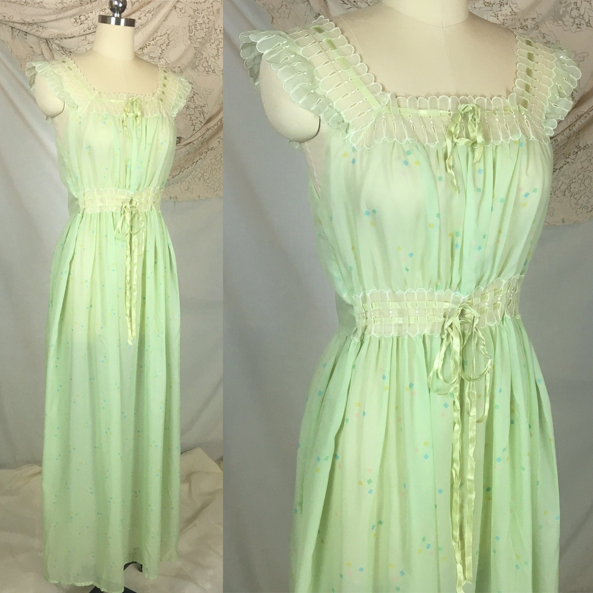 Vintage 1950's Nightgown | Sheer Pale Green Nylon Chiffon with Geometric Pattern & Adjustable Waist | Godfried | Size SM, MED - Daggers & Dames