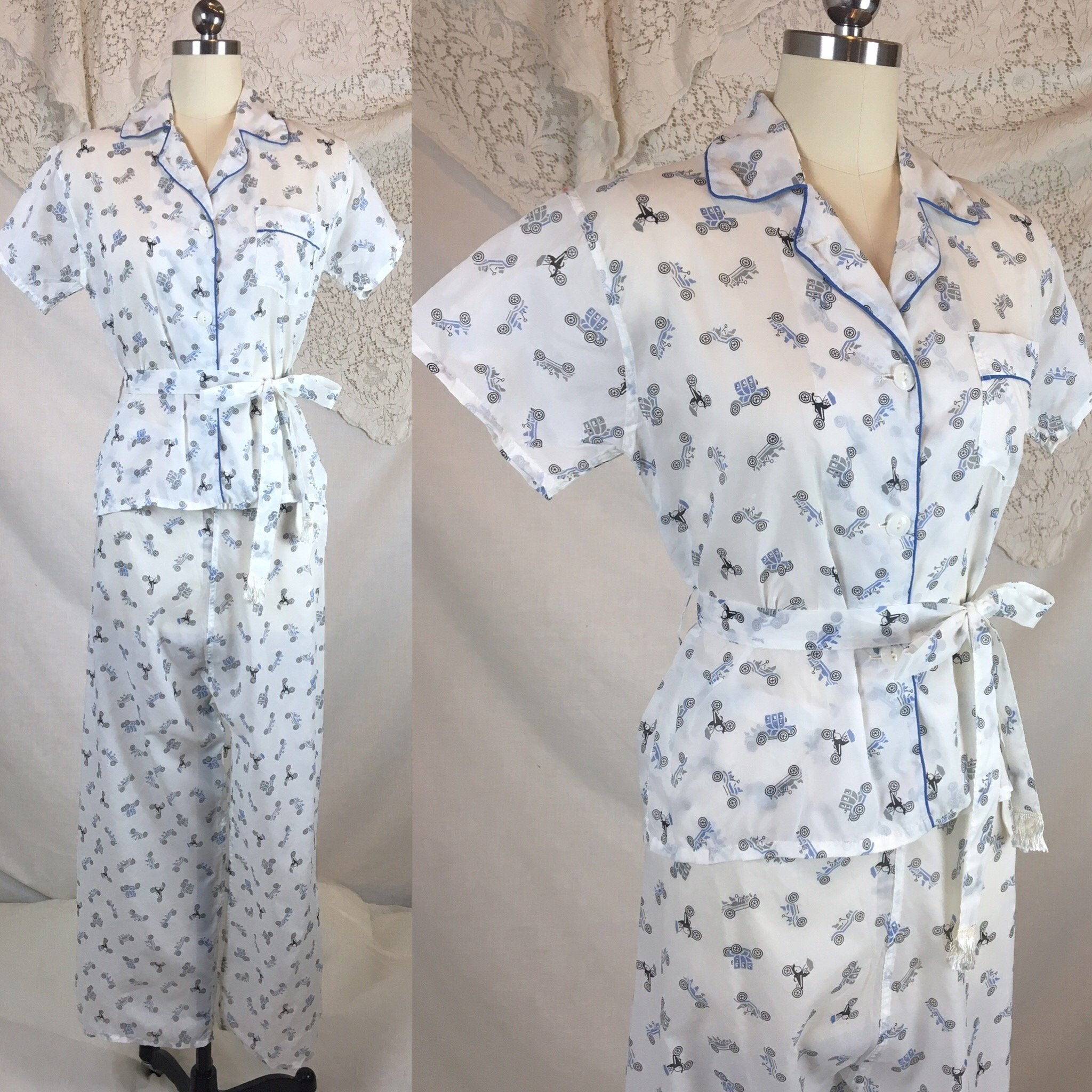 Vintage 1950's Pajama Set | Sheer White Nylon with Blue Car Print & Fringe Sash Tie | Carole | Size SM, MED - Daggers & Dames