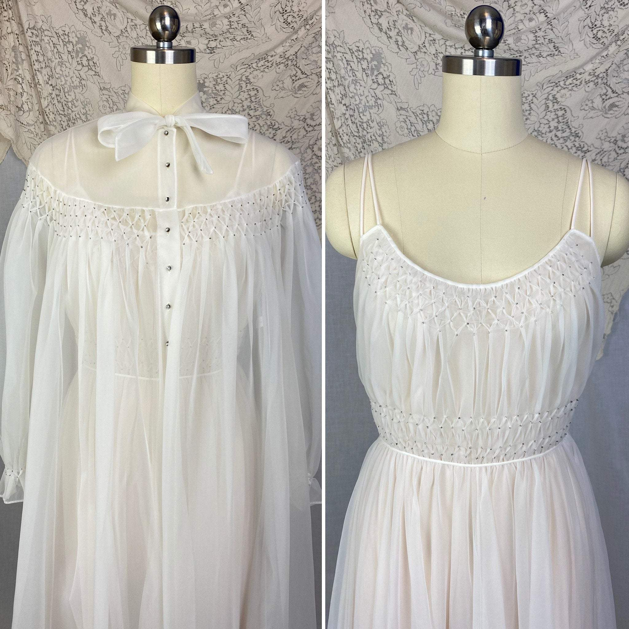 Vintage 1950's Peignoir Set | Winter White Nylon Chiffon with Honeycomb Smocking & Rhinestone Buttons | Size XS | Vanity Fair - Daggers & Dames