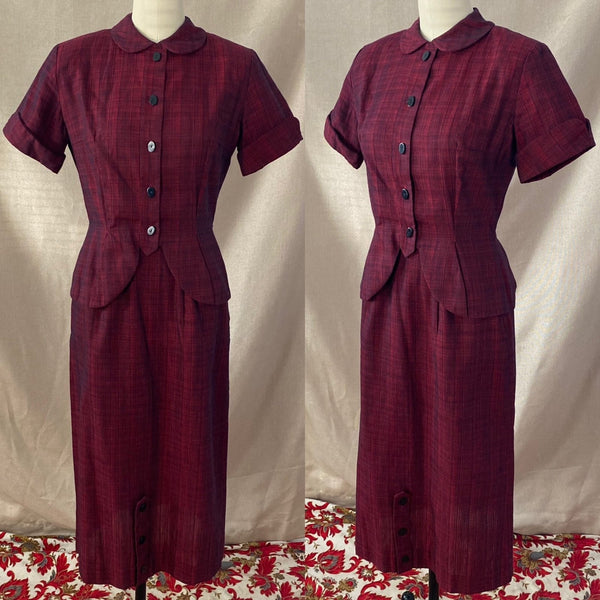 Vintage 1950's Pencil Skirt Suit | Ruby Red & Black Plaid Cotton | Size XS | Jolyn Juniors - Daggers & Dames