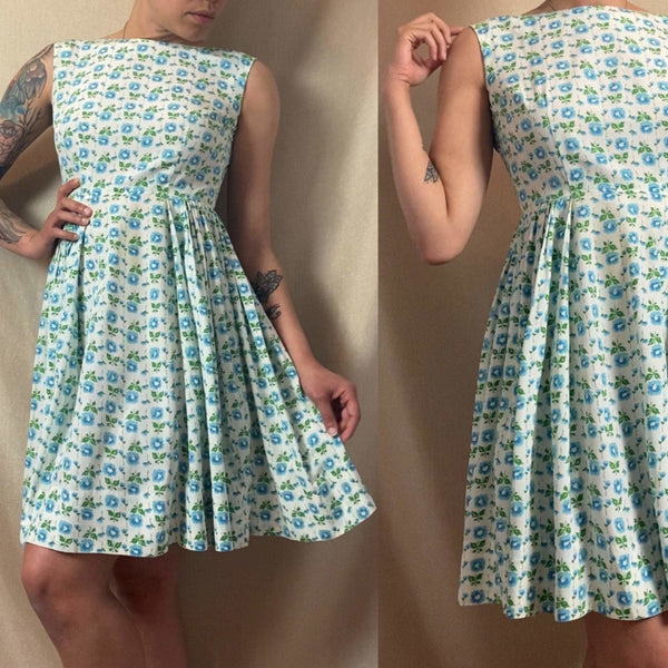 Vintage 1950's Sun Dress | White Rayon Cotton Blend with Blue Floral Print & Full Skirt | Size 34 Bust, XS - Daggers & Dames