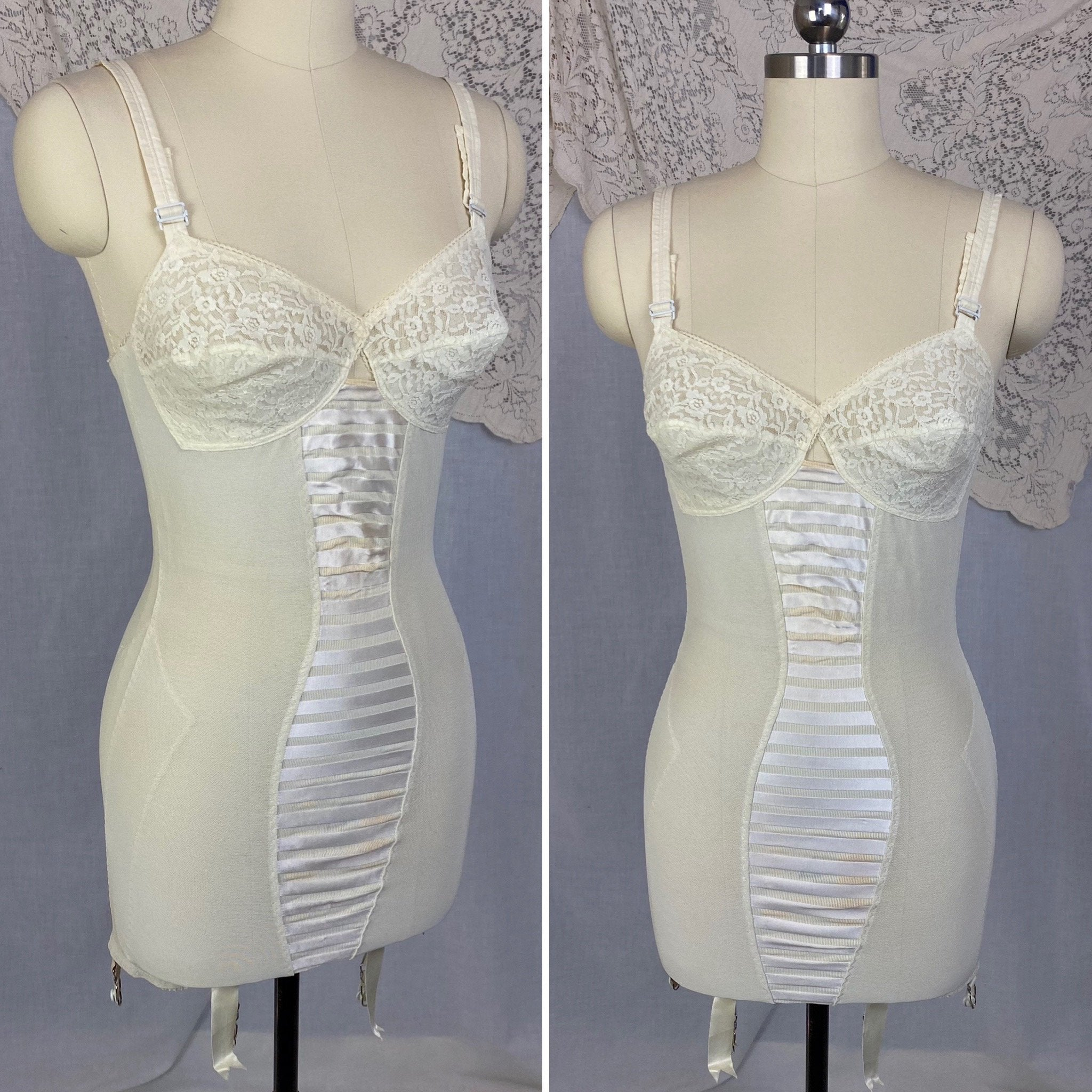 Vintage 1960's All in One Girdle | Creamy White Elastic Power Mesh & Lace with Rayon Satin Stripes | Size 34-36, S | Fashion Hour by Blair - Daggers & Dames