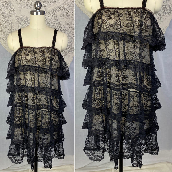 Vintage 1960's Babydoll Nightgown | Black Ruffled Lace Illusion over White Nylon | Size S, M, LG | Jeri Morton - Daggers & Dames
