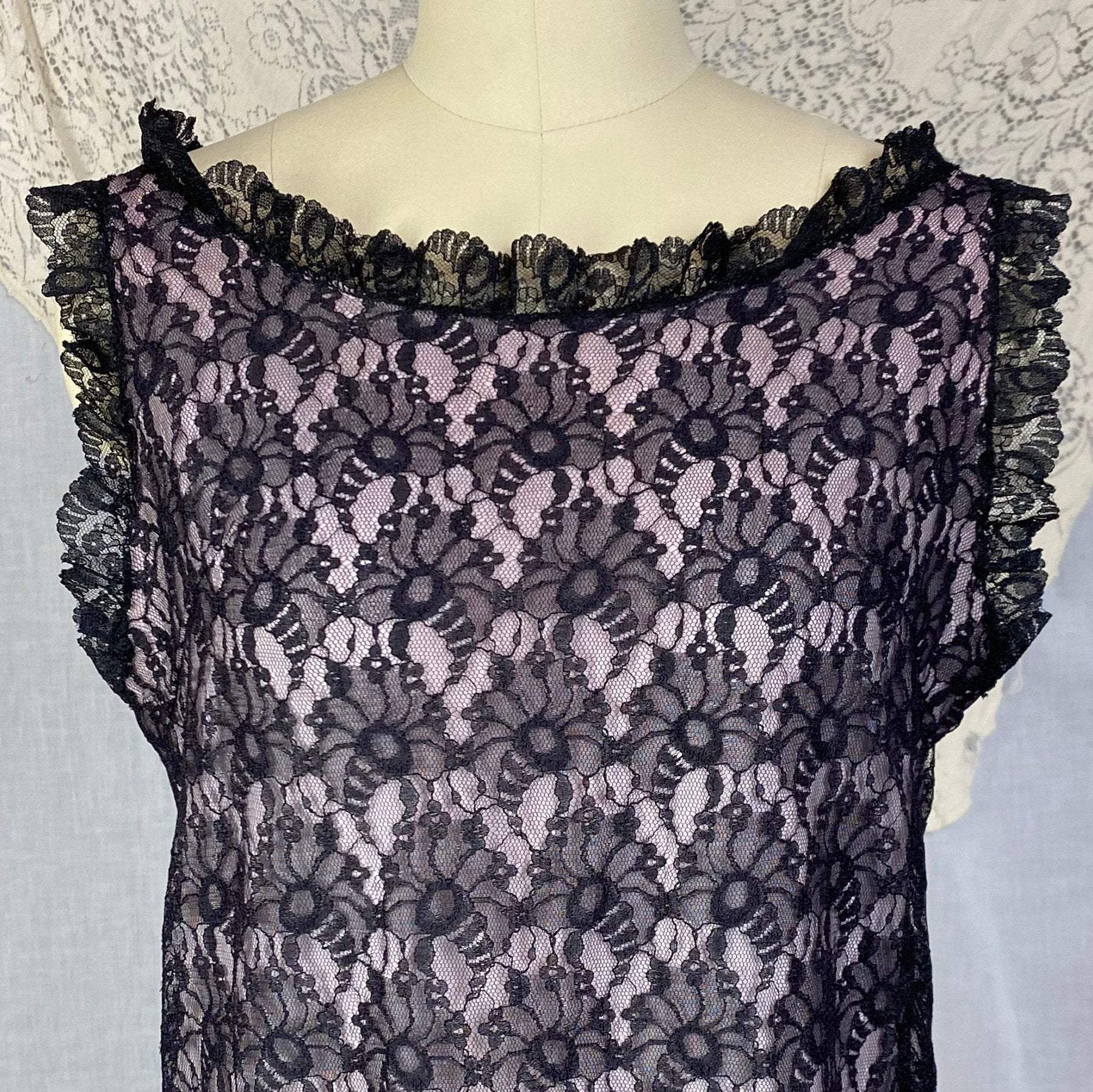 Vintage 1960's Babydoll Nightgown | Sheer Black Floral Lace Illusion over Pink Nylon with Ruffles | Size M, LG - Daggers & Dames