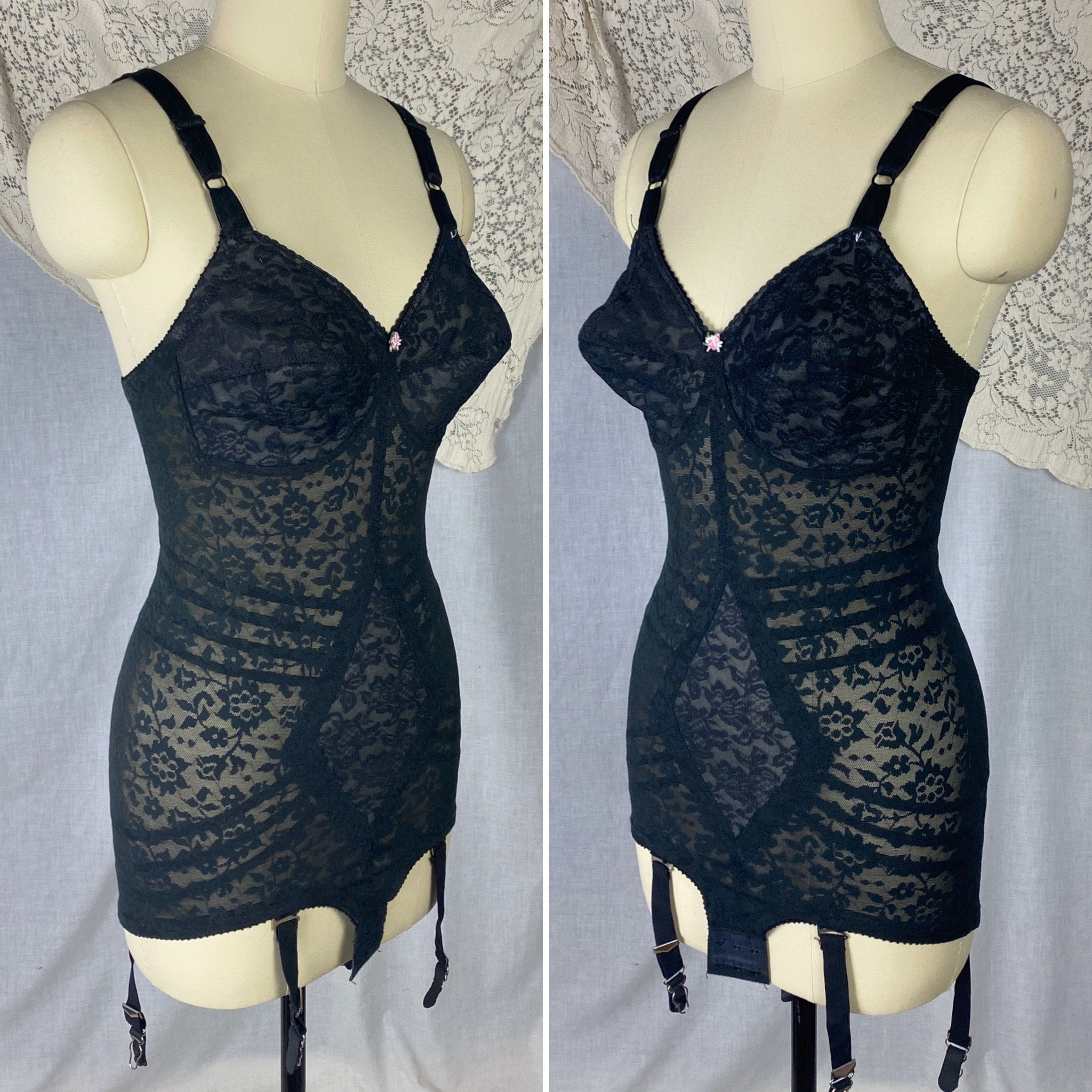 Vintage 1960's Bodysuit | Black Lace Nylon & Spandex with Detachable Garters | Size 34 C, 36 B, 32 D | Rago Shapewear - Daggers & Dames