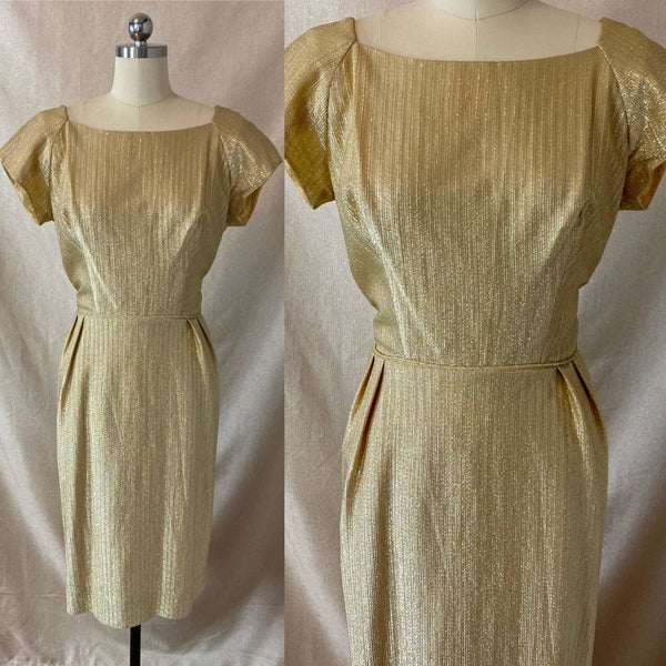 Vintage 1960's Cocktail Wiggle Dress | Diva Gold Lurex Taffeta | Size 38 Bust, M - Daggers & Dames