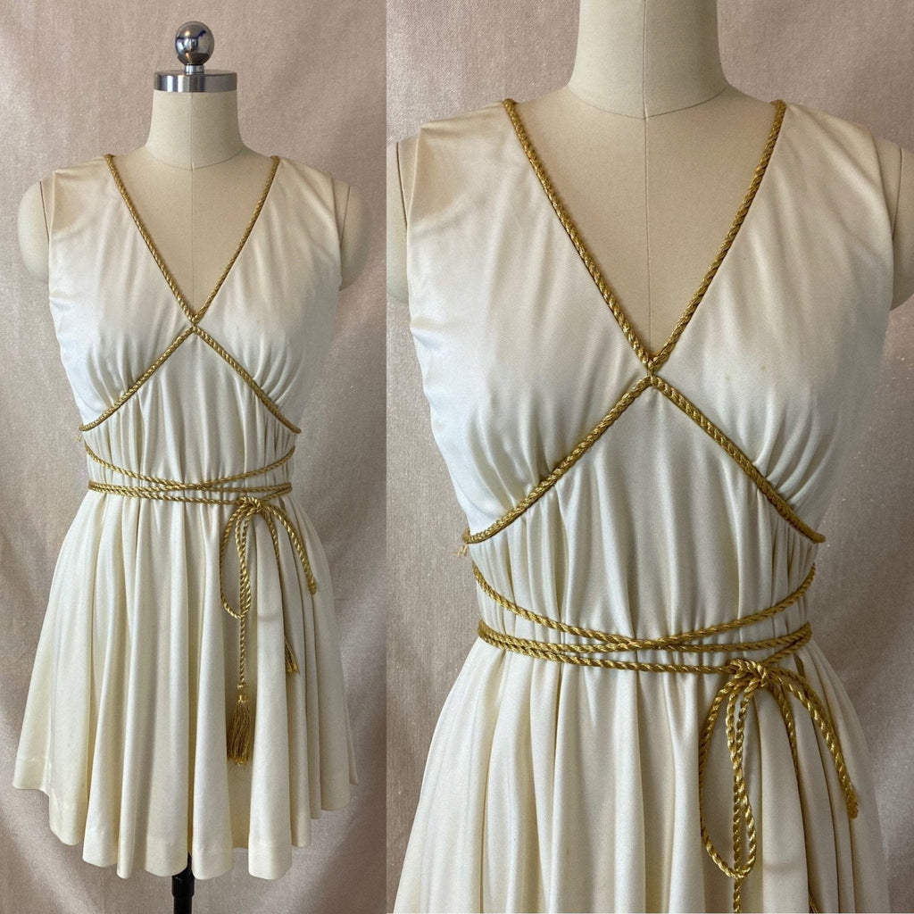 Vintage 1960's Grecian Style Mini Dress | Buttercream Polyester with Gold Fringed Tassels | Size 33 Bust, XS | Sandine Originals - Daggers & Dames