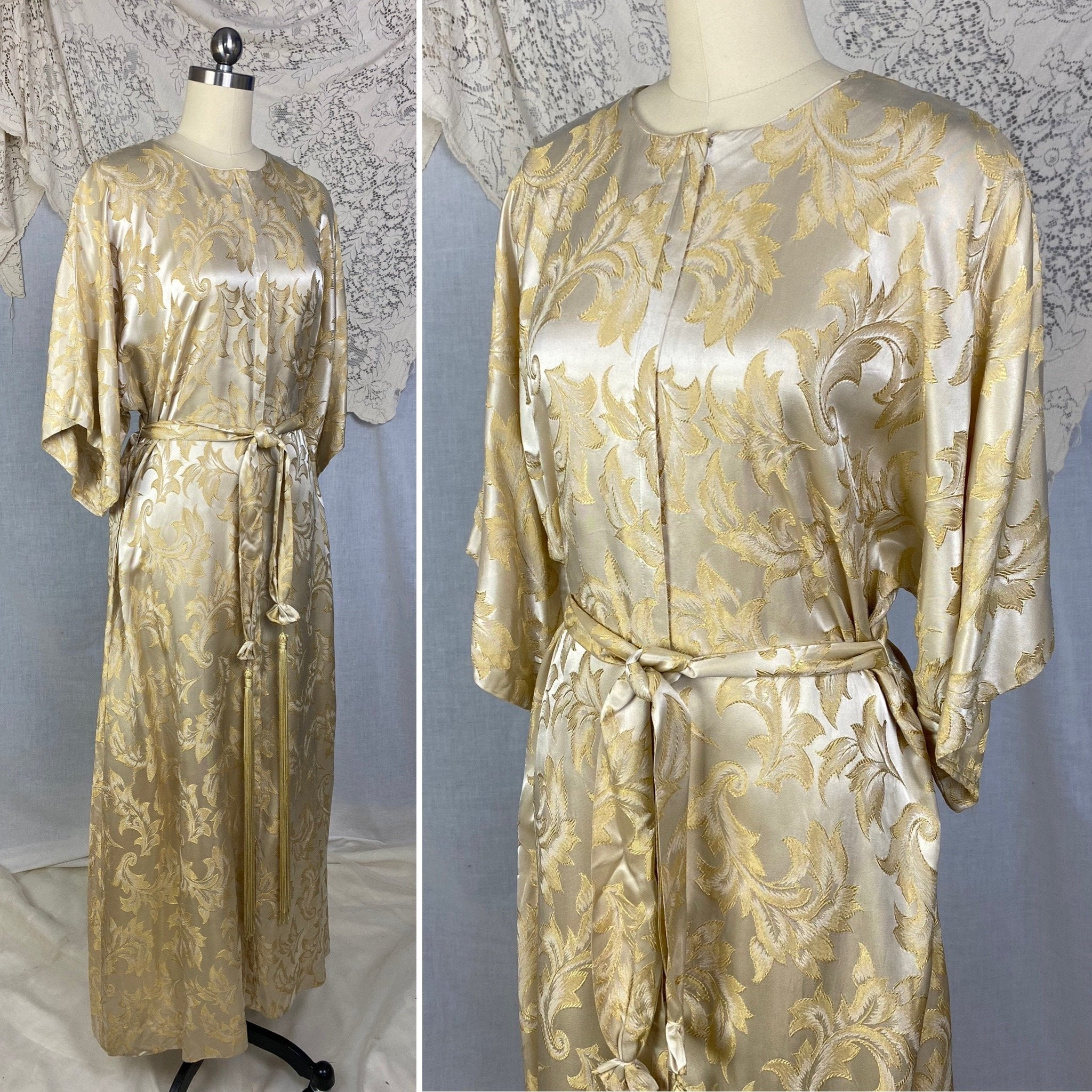 Vintage 1960's Hostess Dress | Champagne Rayon Satin Damask with Fringe Sash Tie | Size S, M, LG | Peer - Daggers & Dames