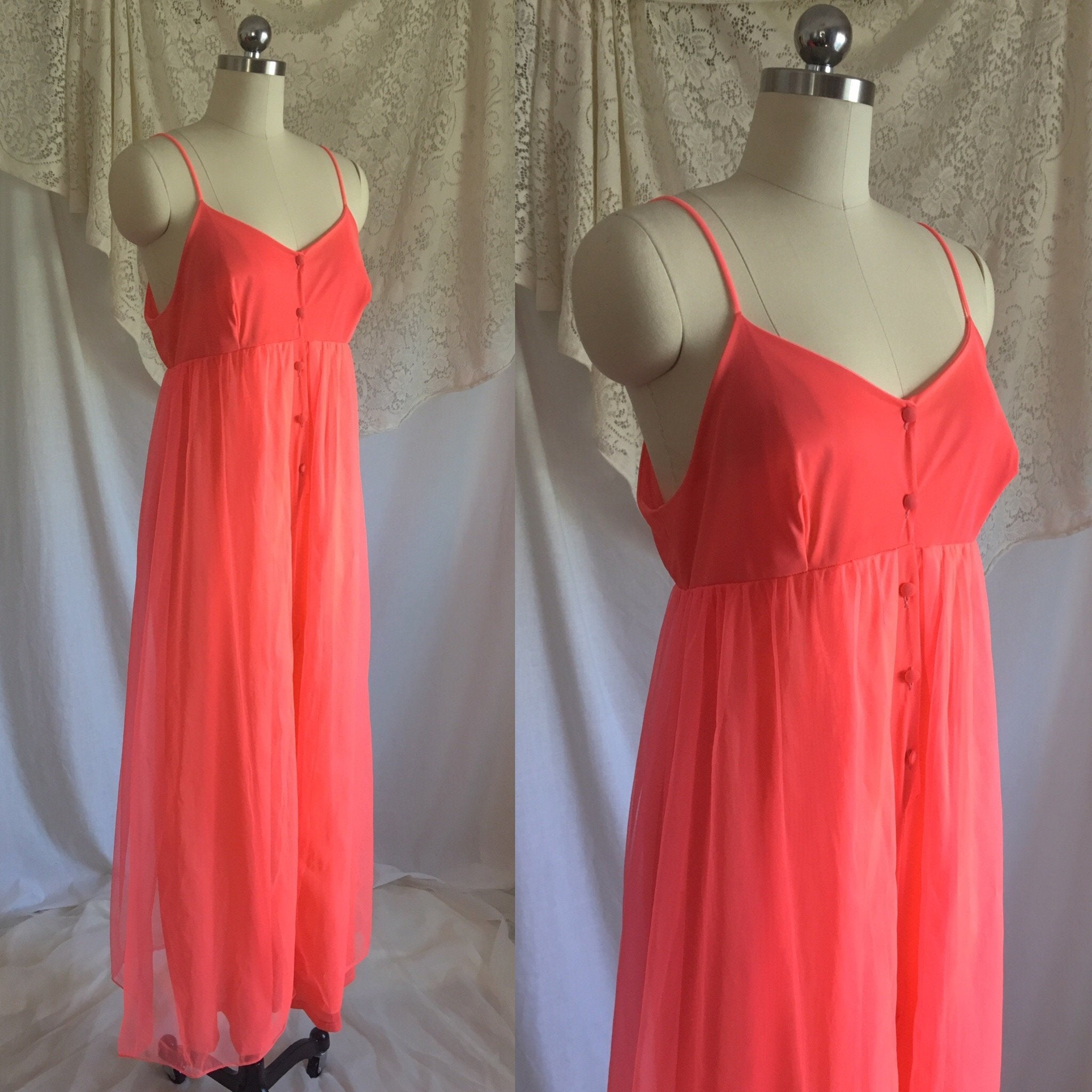 Vintage 1960's Jumpsuit Pajamas | Bright Electric Pink Nylon with Chiffon Skirt | Size S - Daggers & Dames