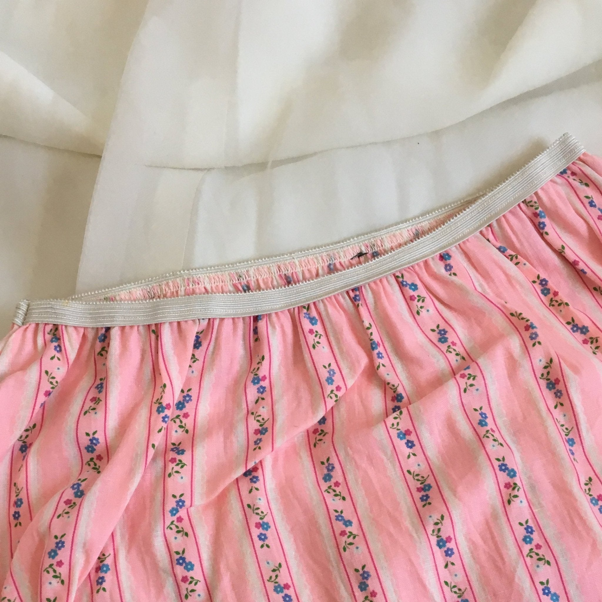 Vintage 1960's Panties | Light Pink & Floral Pattern Cotton with Ruffle Leg | New Old Stock | High Waist Bloomers | Mushroom Gusset | Size S - Daggers & Dames