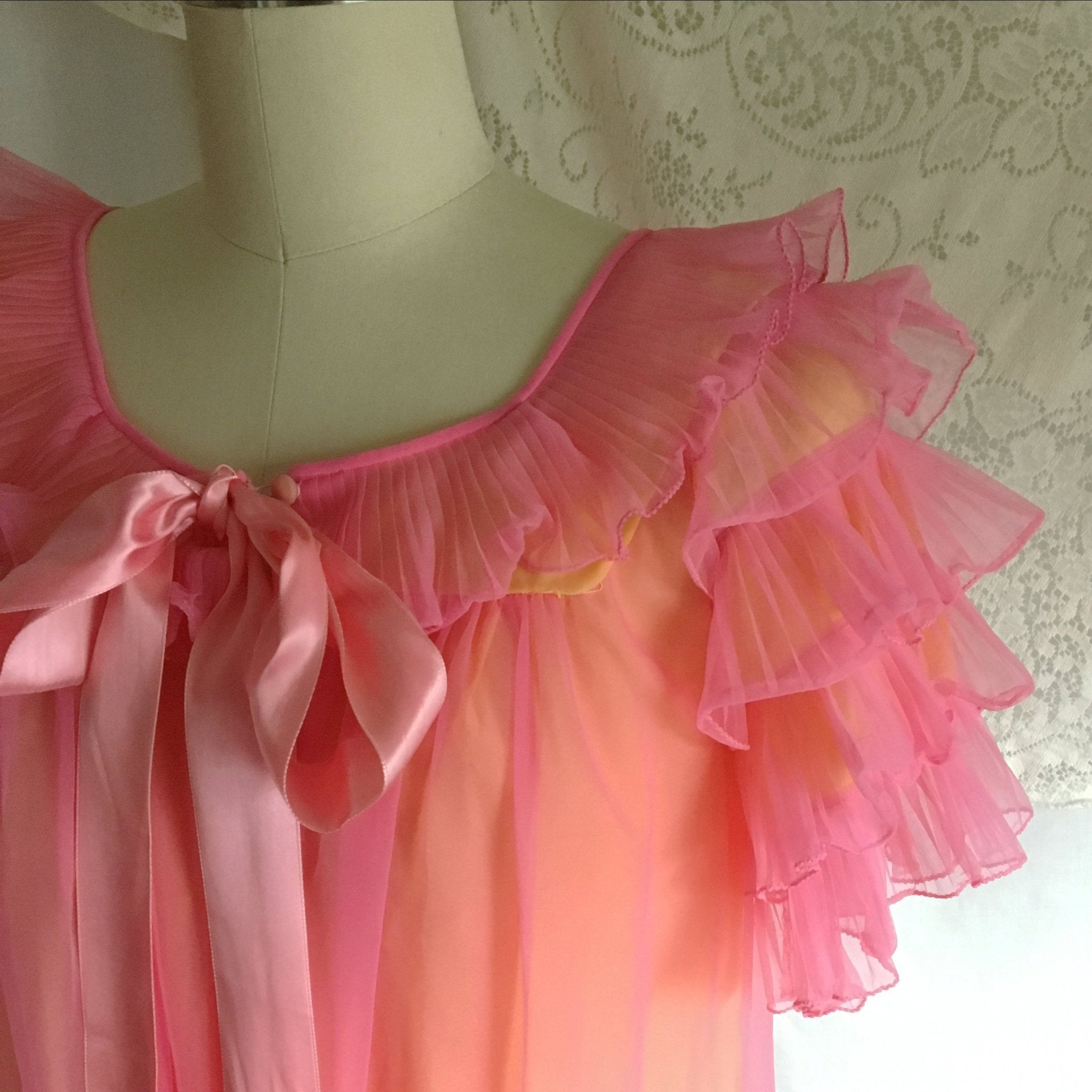 Vintage 1960's Peignoir Set | Pink Ruffled Chiffon over Yellow Nylon | Chevette | Size S, M - Daggers & Dames