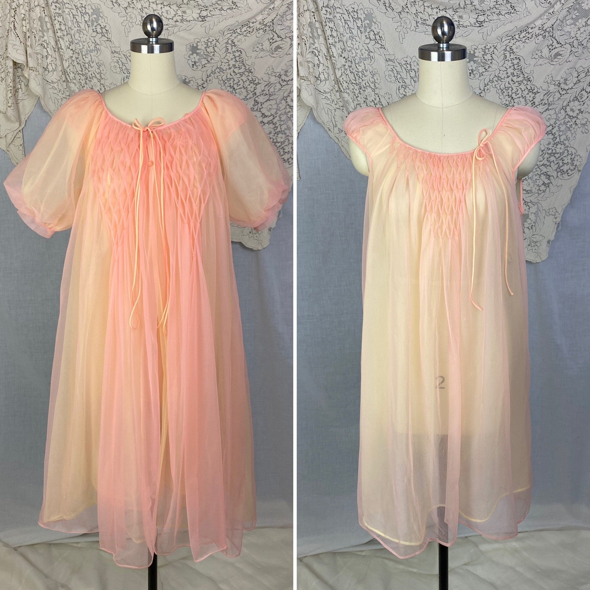 Vintage 1960's Peignoir Set | Tangerine & Yellow Nylon Chiffon with Honeycomb Smocking | Size M, LG | Miss Elaine - Daggers & Dames