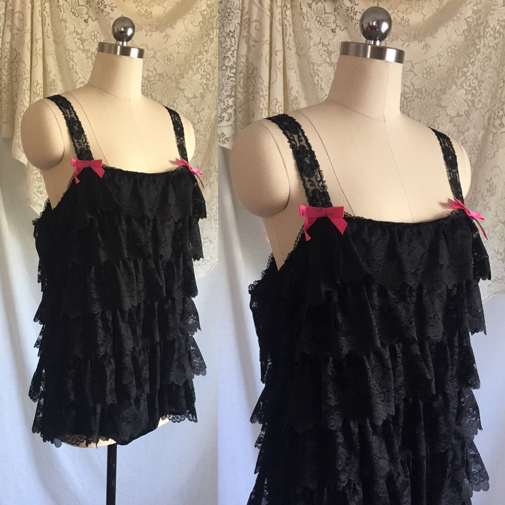 Vintage 1960's Teddy Romper | Black Nylon Lace Ruffles with Hot Pink Bows | New with Tags | Jeri Morton | Size M - Daggers & Dames