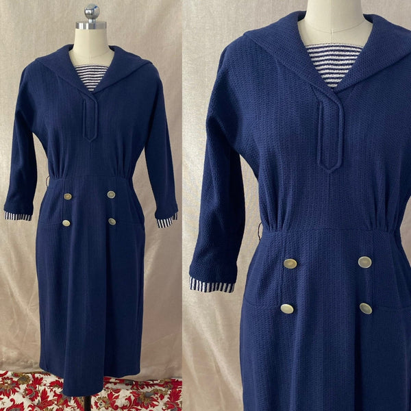 Vintage 1960's Wiggle Dress | Nay Blue Cotton Knit with White Nautical Stripes | Size S, M | Bobbie Brooks - Daggers & Dames
