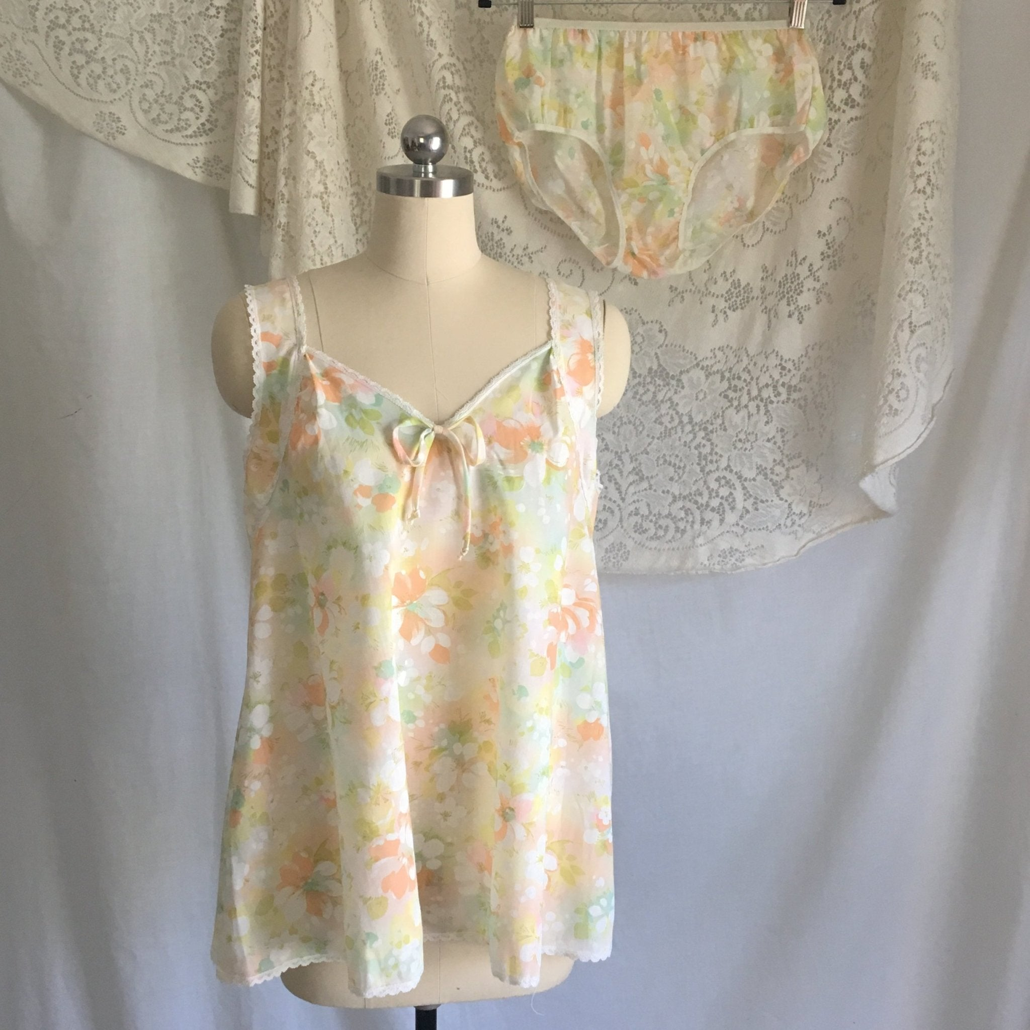Vintage 1970's Babydoll & Panty Set | Sheer White with Watercolor Floral Pattern and Lace | New Old Stock Lingerie | Size M - Daggers & Dames