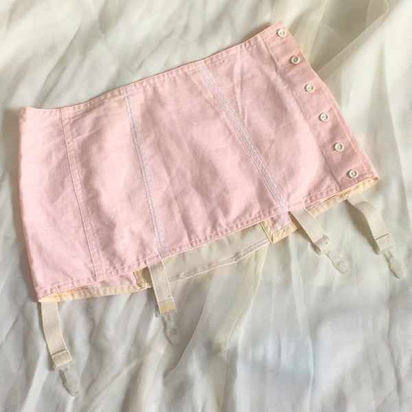 Vintage 1970's Garter Belt Girdle | Pink Cotton & White Satin with Lace | Button Side | Size LG - Daggers & Dames