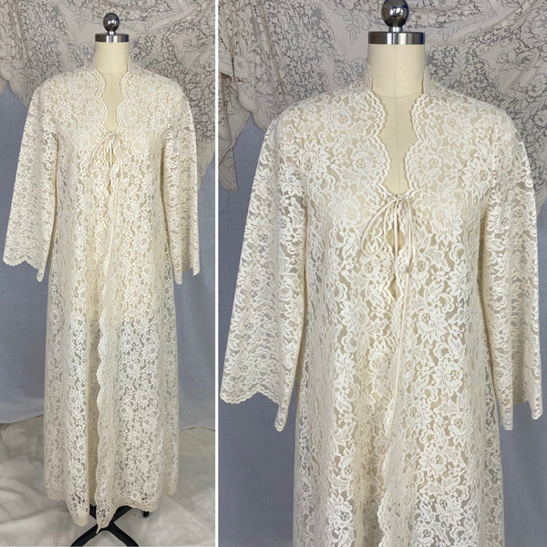 Vintage 1970's Peignoir Robe | Ivory Cream Floral Lace with High Neck & Wide Sleeves | Size S - Daggers & Dames