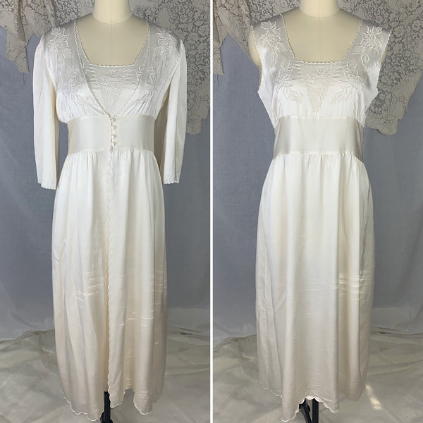 Vintage 1970's Peignoir Set | Snow White Silk Satin with Rose Embroidery | Size M | Peony, Shanghai China - Daggers & Dames