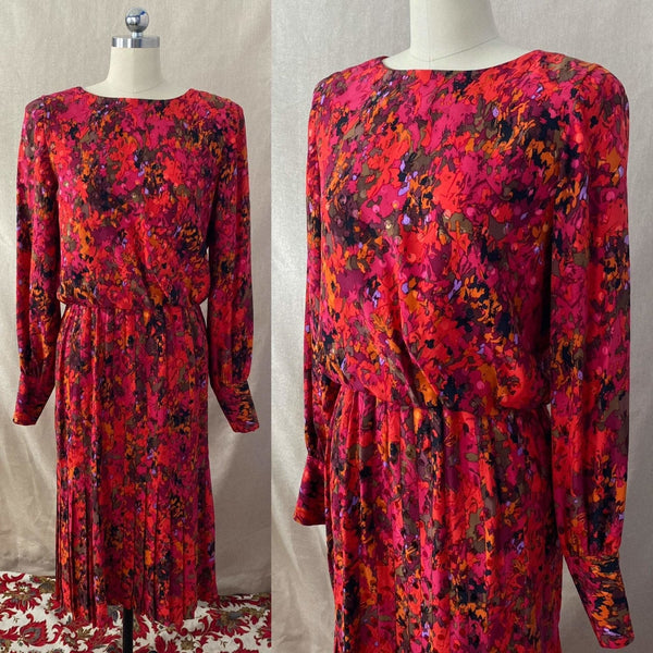 Vintage 1980's Dress | Bold Magenta Print Silk with Pleated Skirt, Blousy Bodice & Button Up Back | Size 28 Waist, S, M | Raul Blanco - Daggers & Dames