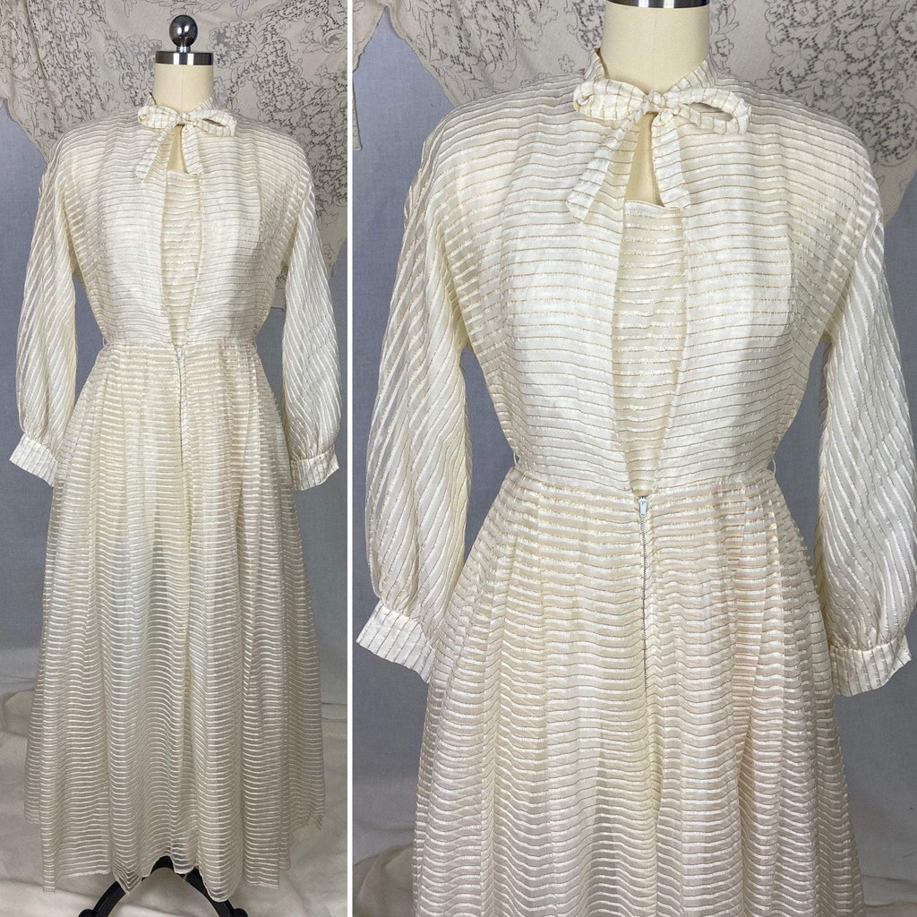 Vintage Hostess Gown - 1950's | White Organza with Gold Pinsripes & Pussy Bow | Size XS, S | Maxan - Daggers & Dames