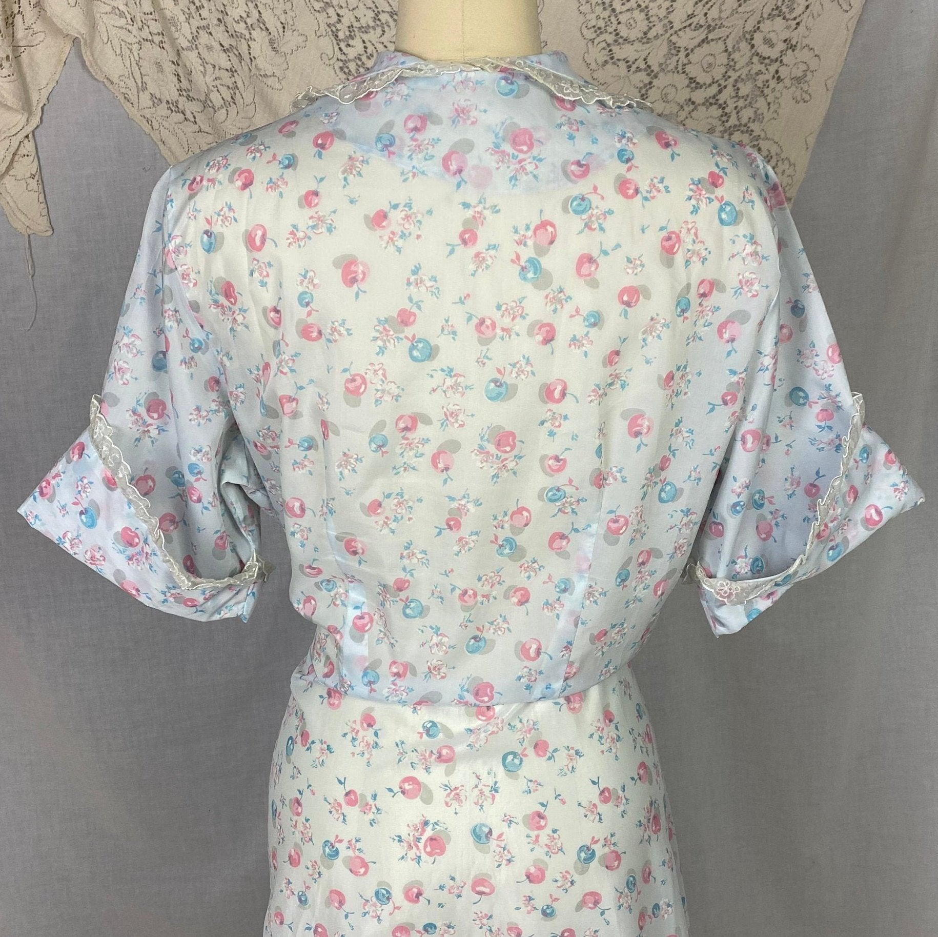 Vintage Seersucker Robe - 1950's | Semi Sheer Dusty Blue Nylon with Cherry Print & Chiffon Lace | Size LG, XLG - Daggers & Dames