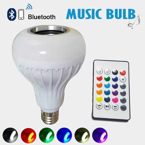 Wireless Bluetooth Speaker Bulb - Dimmable LED Bulb with 24 Keys Remote