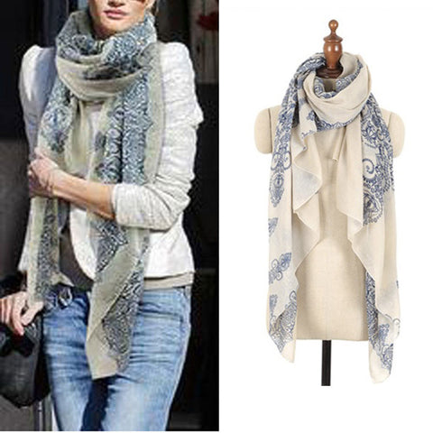 High quality  Porcelain Style Thin  Silk Scarf