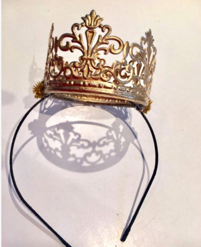 Queen Crown on Headband- Gold Birthday Crowns
