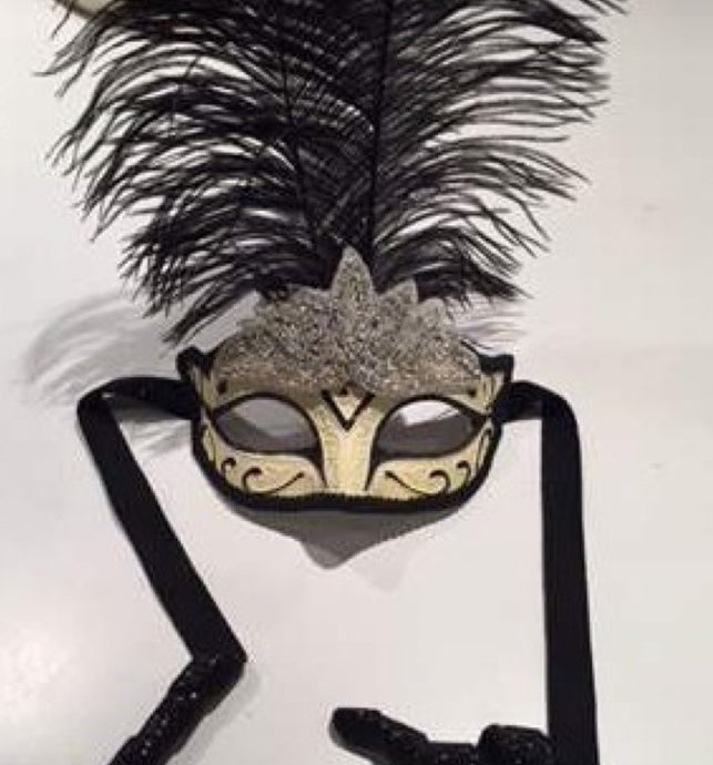 Feather Masks with rhinestones- masquerade mask