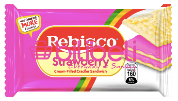 (50% OFF) Rebisco Strawberry Cream-Filled Sandwich 1 pack / 10 pcs