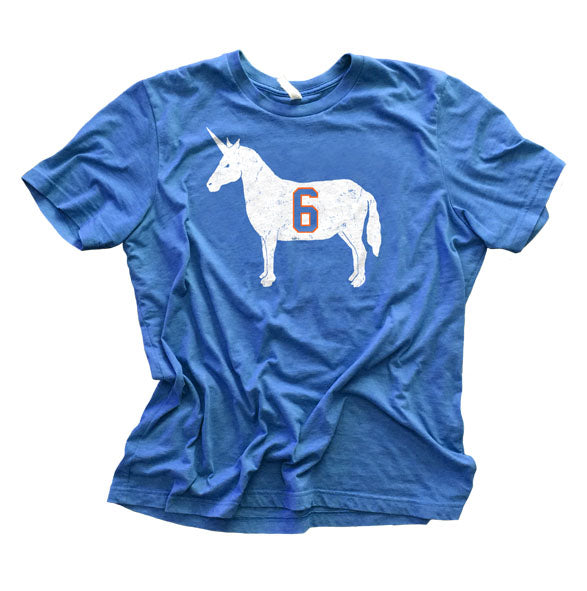 """Unicorn 6"" Blue Vintage T-shirt"