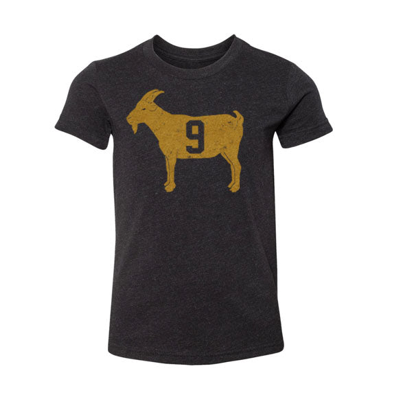 """GOAT 9"" Youth Black Vintage T-shirt"