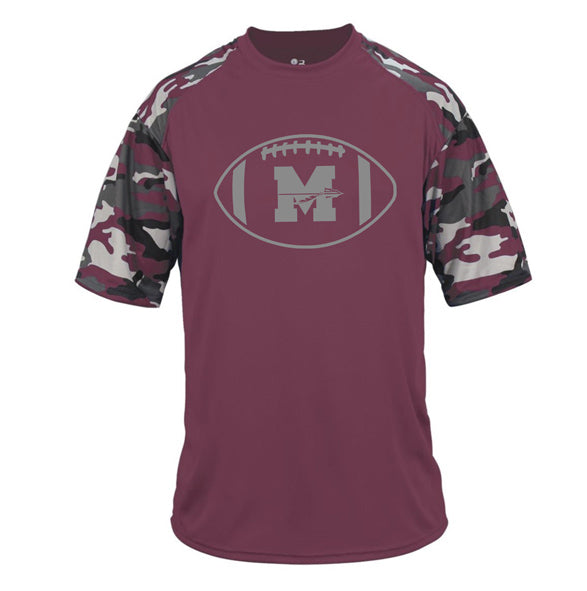Mineola Chiefs Football - Maroon/Camo - Youth Performance Tshirt