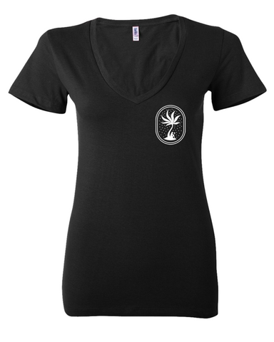 NGW Lettermark & Cannapalm Womens Deep V Neck T-Shirt