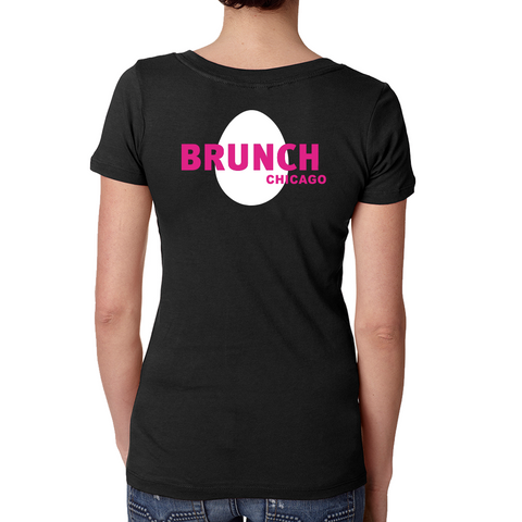 Brunch V Neck Tee- Black