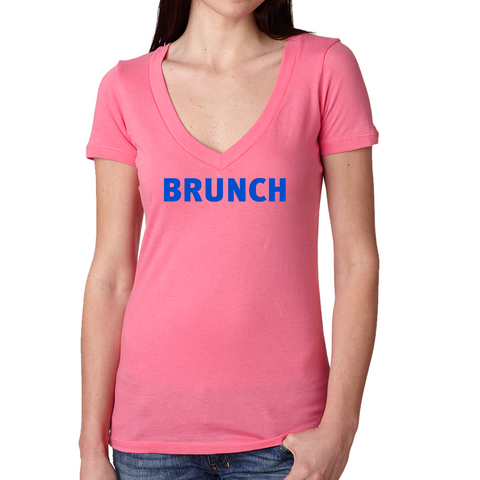 Brunch V Neck Tee- Hot Pink