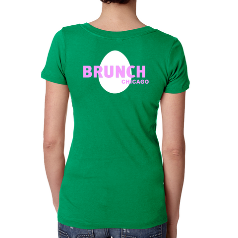 Brunch V Neck Tee- Kelly Green