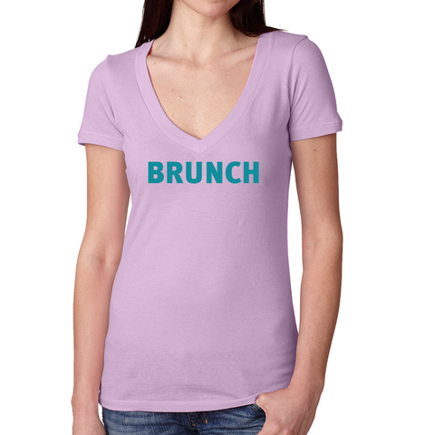 Brunch V Neck Tee- Lilac