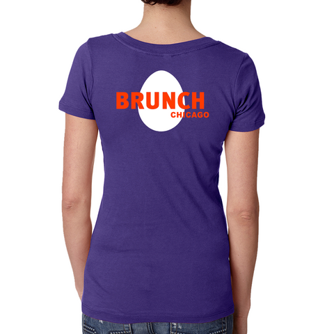 Brunch V Neck Tee- Purple Rush