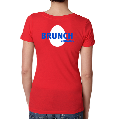 Brunch V Neck Tee- Red