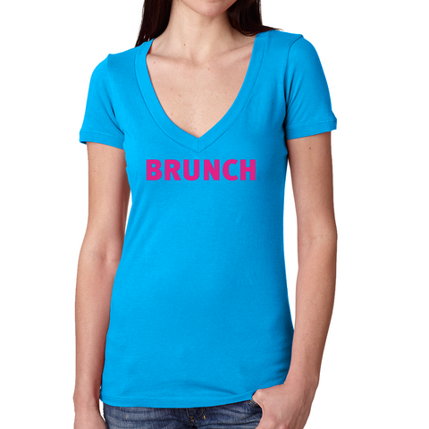 Brunch V Neck Tee- Turquoise