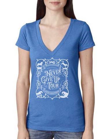 THG Deep V Triblend Tshirt Never Give Up
