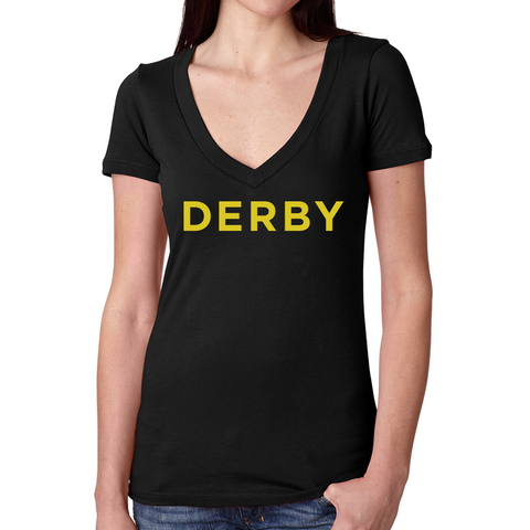 Derby V Neck Tee-Black