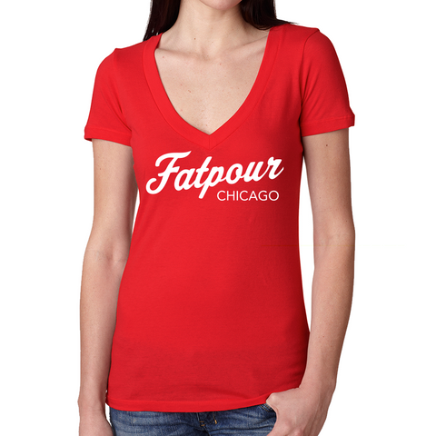 Fatpour V Neck Tee-Red