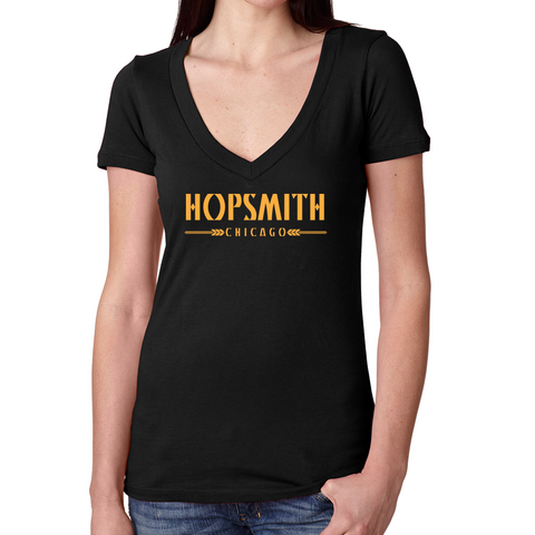 Hopsmith V Neck Tee-Black