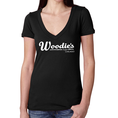 Woodies V Neck Tee-Black