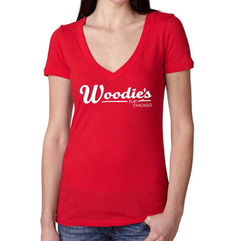 Woodies V Neck Tee-Red